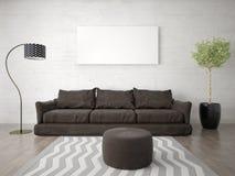 Zombe acima de uma sala de visitas brilhante com um sofá marrom na moda Fotografia de Stock Royalty Free