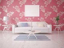 Zombe acima de uma sala de visitas elegante com um sofá compacto Imagem de Stock Royalty Free