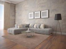 Zombe acima de uma sala de visitas espaçoso com um sofá de canto à moda Fotos de Stock Royalty Free