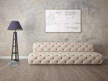 Zombe acima de uma sala de visitas exclusiva com um sofá elegante Foto de Stock
