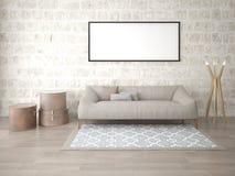 Zombe acima de uma sala de visitas moderna com um sofá de couro e uma lâmpada de assoalho à moda Fotografia de Stock Royalty Free