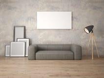 Zombe acima de uma sala de visitas moderna com um sofá de couro largo Imagem de Stock Royalty Free