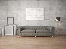 Zombe acima de uma sala de visitas à moda com sofá retro Imagens de Stock Royalty Free