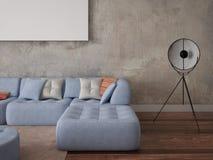 Zombe acima de uma sala de visitas à moda com um sofá chique Imagem de Stock Royalty Free
