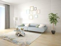 Zombe acima de uma sala de visitas brilhante com um sofá compacto Fotografia de Stock