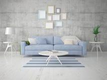 Zombe acima de uma sala de visitas brilhante com um sofá confortável leve Ilustração Stock