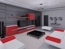Zombe acima de uma sala de visitas da olá!-tecnologia com mobília funcional moderna ilustração do vetor