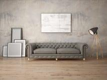 Zombe acima de uma sala de visitas elegante com divã retros Fotografia de Stock Royalty Free