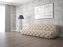 Zombe acima de uma sala de visitas moderna com um sofá elegante bege Fotografia de Stock