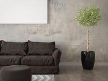 Zombe acima de uma sala de visitas moderna com um sofá marrom na moda Foto de Stock Royalty Free
