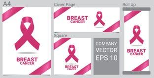 Zombe acima do ícone realístico do câncer da mama com a fita cor-de-rosa da conscientização na bandeira branca do fundo ilustração stock