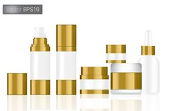 Zombe acima do branco realístico e da ilustração ajustada garrafas do fundo do vetor do ouro Conceito de empacotamento ilustração stock