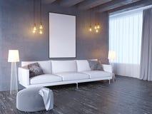 Zombe acima do cartaz com do sótão pastel do minimalismo do moderno do vintage fundo interior, 3D rendição, ilustração 3D ilustração do vetor