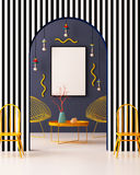 Zombe acima do cartaz no interior ao estilo de Memphis ilustração 3D 3d rendem Imagem de Stock Royalty Free