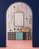 Zombe acima do cartaz no interior ao estilo de Memphis ilustração 3D 3d rendem Imagens de Stock