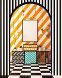 Zombe acima do cartaz no interior ao estilo de Memphis ilustração 3D 3d rendem Fotografia de Stock Royalty Free