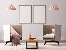 Zombe acima do cartaz no interior de uma sala de visitas com poltronas e lâmpadas 3d a ilustração 3d rende ilustração stock