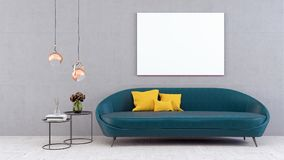 Zombe acima do cartaz, sala de visitas moderna, 3d rendem ilustração do vetor