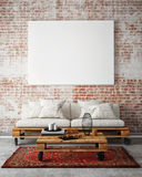 Zombe acima do cartaz vazio na parede da sala de visitas, ilustração 3D Imagem de Stock