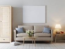 Zombe acima do cartaz vazio no estilo interior moderno da parede Ilustração do Vetor