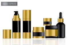 Zombe acima do preto realístico e da ilustração ajustada garrafas do fundo do vetor do ouro Conceito de empacotamento ilustração royalty free