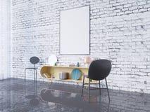 Zombe acima do quadro do cartaz no fundo interior do escritório domiciliário, 3D rendem, a ilustração 3D Imagem de Stock Royalty Free