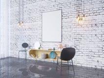 Zombe acima do quadro do cartaz no fundo interior do escritório domiciliário, 3D rendem, a ilustração 3D Imagens de Stock