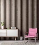 Zombe acima do quadro do cartaz no fundo interior do moderno em pranchas cor-de-rosa do cor e as de madeira da parede, ilustração Foto de Stock