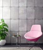 Zombe acima do quadro do cartaz no fundo do moderno e no muro de cimento interiores, ilustração 3D Fotos de Stock