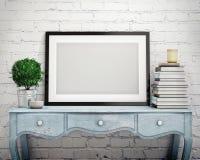 Zombe acima do quadro do cartaz na caixa do vintage de gavetas, interior Fotografia de Stock Royalty Free