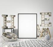Zombe acima do quadro do cartaz no fundo interior com letras claras, estilo escandinavo do moderno, 3D rendem Fotografia de Stock