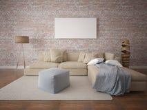 Zombe acima do quadro vazio do cartaz com um grande sofá confortável Foto de Stock Royalty Free
