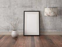 Zombe acima do quadro vazio do cartaz com uma lâmpada moderna