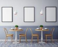 Zombe acima dos cartazes com fundo interior do restaurante retro do café do moderno, Fotos de Stock Royalty Free