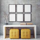 Zombe acima dos quadros do cartaz no fundo interior do moderno, Imagem de Stock Royalty Free