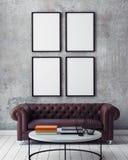 Zombe acima dos quadros do cartaz no fundo interior do moderno, Imagens de Stock