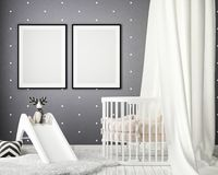 Zombe acima dos quadros do cartaz no quarto das crianças, fundo interior do estilo escandinavo, 3D rendem Foto de Stock