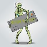 Zombi держа доску для текста партия, котор нужно приветствовать Иллюстрация штока