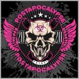 Zombi Apocalypse - emblem with skull on grunge background. Zombi Apocalypse - emblem with skull on grunge dark background Royalty Free Stock Images