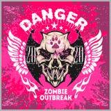 Zombi Apocalypse - emblem with skull on grunge background. Zombi Apocalypse - emblem with skull on grunge pink background Royalty Free Stock Photo