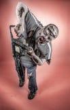 Zombi con la sierra mecánica Fotografía de archivo