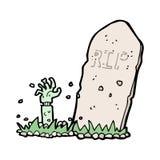 zombi de bande dessinée se levant de la tombe Images libres de droits