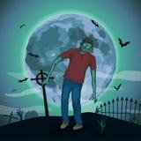 Zombi de lune de nuit de Halloween, bête de monstre de spiritueux mauvais de zombi Image libre de droits