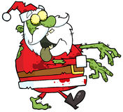 Zombi de Santa marchant avec des mains dans l'avant Images stock