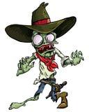 Zombi del vaquero de la historieta con la correa y el sombrero de arma. Imágenes de archivo libres de regalías