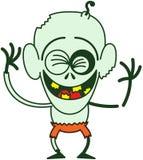 Zombi divertido de Halloween que ríe entusiasta Foto de archivo libre de regalías