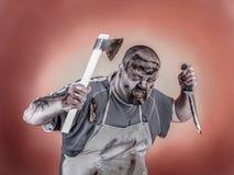 Zombi do carniceiro Fotos de Stock Royalty Free