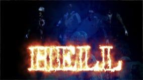 Zombi do horror com efeitos e inferno da palavra no fogo, meios mistos de uma animação de dois CG vídeos de arquivo