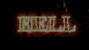 Zombi do horror com efeitos e inferno da palavra no fogo, meios mistos de uma animação de dois CG video estoque