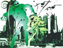 Zombi e cidade Fotografia de Stock Royalty Free